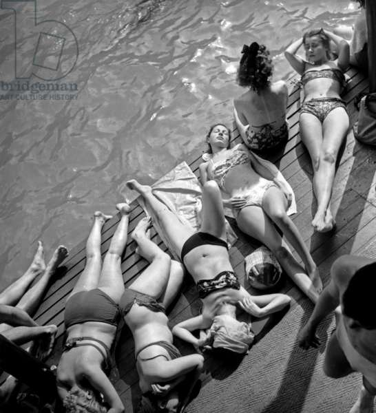 Women in Bikini Tanning at Deligny Swimming Pool in Paris during The Hot Season, July 1St, 1946 (b/w photo)