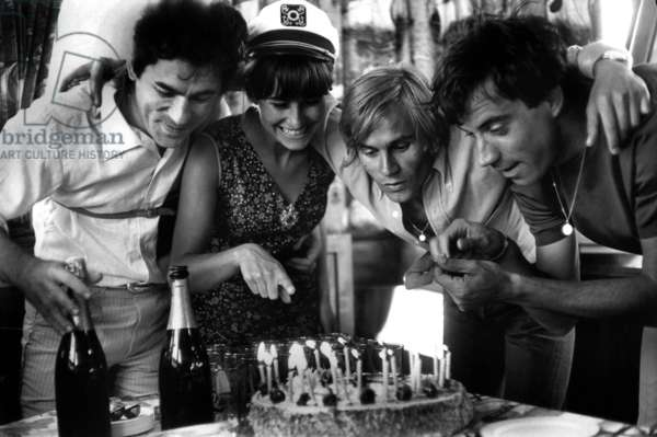 Singer Claude Nougaro With Actors Daniele Denin, Franck Fernandel and Jose Saley (Center) With Cake For his 23Th Birthday July 20, 1966  (b/w photo)