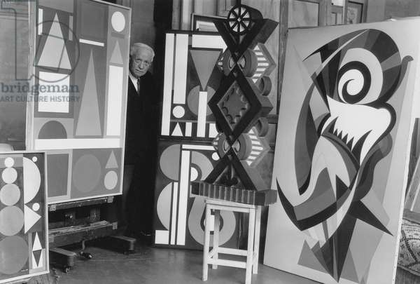 Painter Auguste Herbin in his Workshop in Paris 1953 (b/w photo)