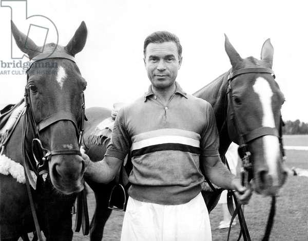 Former Diplomat Porfirio Rubirosa (1909-1965) and his Argentinian Polo Ponies (b/w photo)
