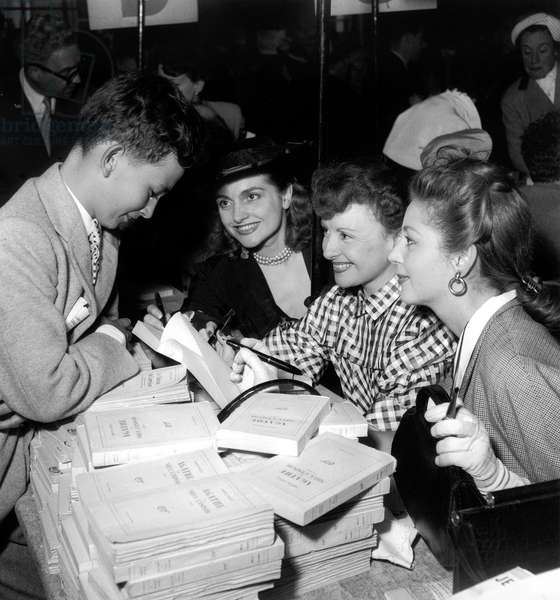 French Actress Odette Joyeux Signing her Book Agathe at Veteran Writers Fair May 25, 1951  (b/w photo)