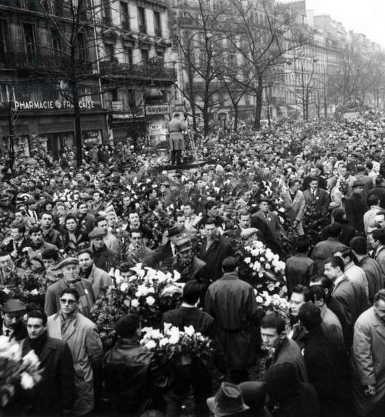 Procession of 200.000 People during The Funeral of The 8 Victims of The Anti-Oas Demonstration in Paris February 08, 1962 at The Time of The War in Algeria) February 13, 1962 (b/w photo)