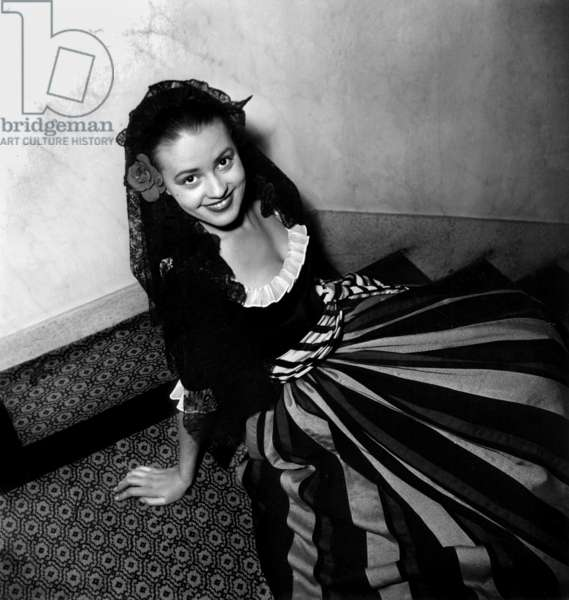 French actress Jeanne Moreau May 4, 1948 at The Comedie Francaise, Paris (b/w photo)