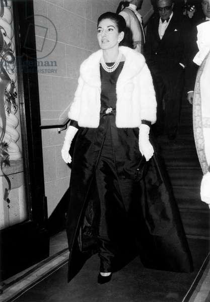 "Maria Callas (Behind : Aristote Onassis) at Premiere of Opera ""Norma"" in Paris, May 22, 1964 (b/w photo)"