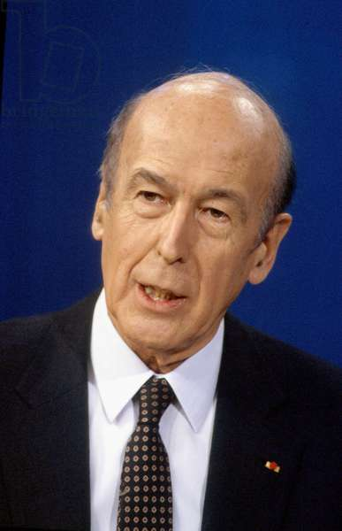 French Politician Valery Giscard D' Estaing at Radio Program in 1986 (photo)