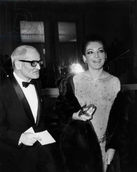 """The Opera Singer Maria Callas and Georges Cravenne For The Unveiling of The Cinema Marigan in Paris For The Film """"Mayerling"""", December 18, 1968 (b/w photo)"""