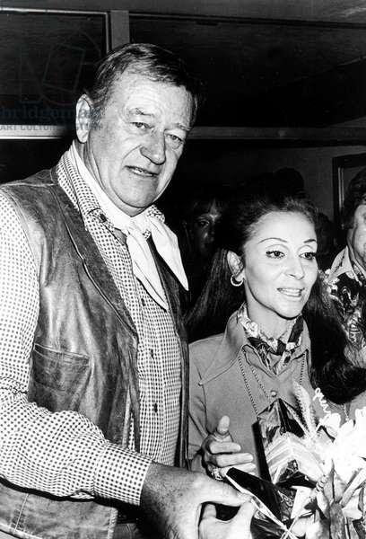 John Wayne and his Wife Pilar June 1St, 1970 (b/w photo)