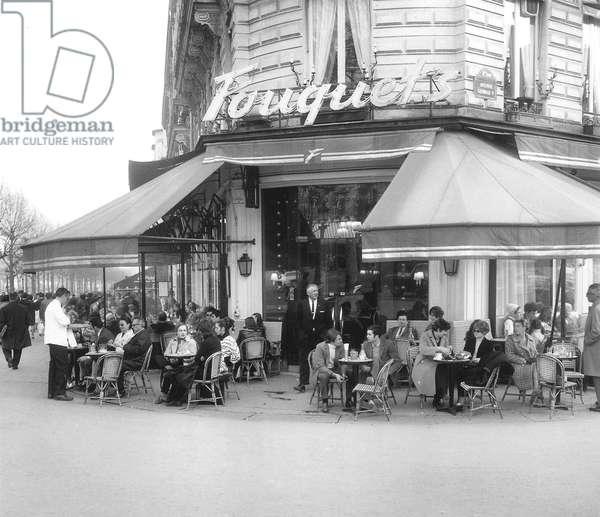 Clients at The Fouquet'S in Paris, March 9, 1969 (b/w photo)