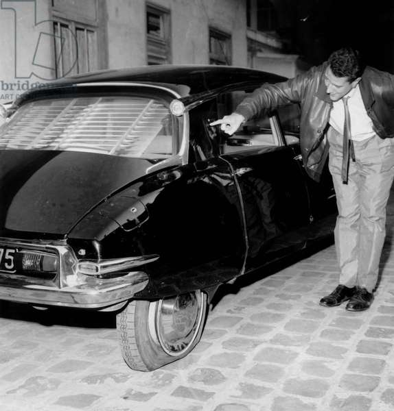 The Citroen Ds of General Charles De Gaulle After The Assassination Attempt Said (Attentat Du Petit Clamart) on August 22, 1962 (b/w photo)