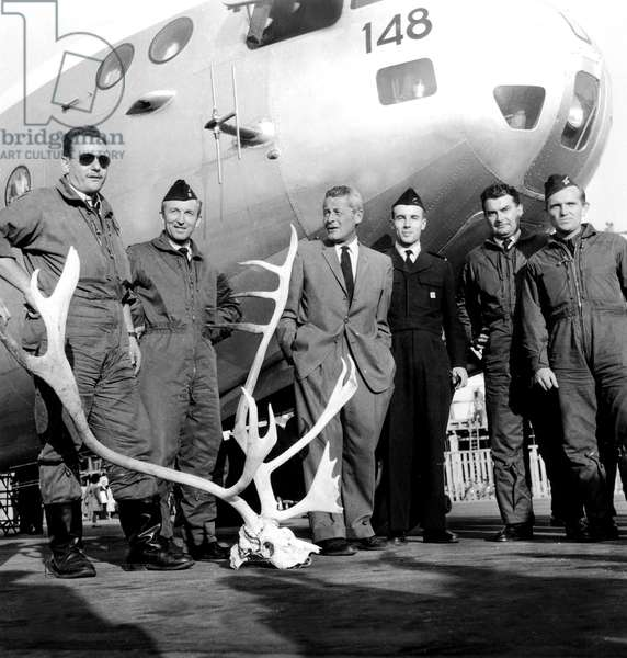 Paul-Emile Victor and Crew at Paris Airport Back From Greenland Expedition September 10, 1959 (b/w photo)