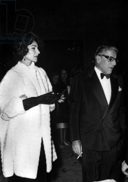 Aristote Onassis and Maria Callas Arriving at The Sporting Club in Monaco on December 31, 1959 (b/w photo)