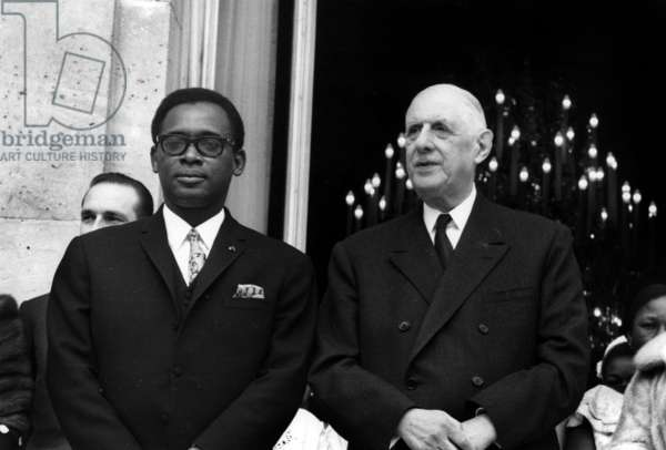 French President Charles De Gaulle at Elysee in Paris With Mobutu Sese Seko (President of Zaire), March 27, 1969 (b/w photo)