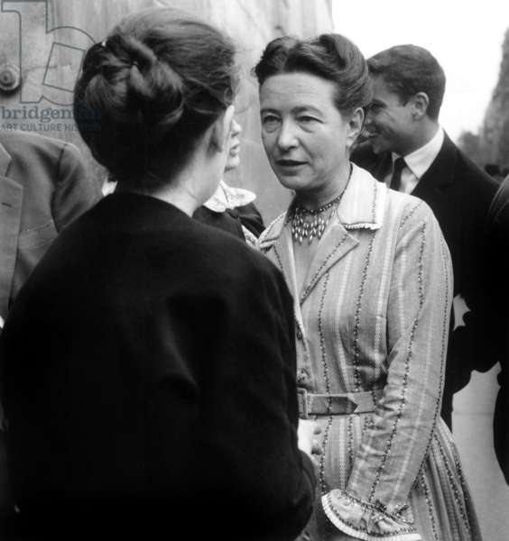 The French Writer Simone De Beauvoir, on June 17Th, 1960 (b/w photo)