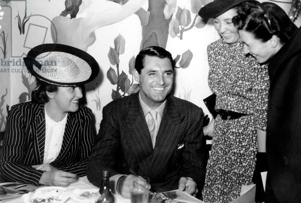 Cary Grant With Admirers in Paris in 1938 (b/w photo)