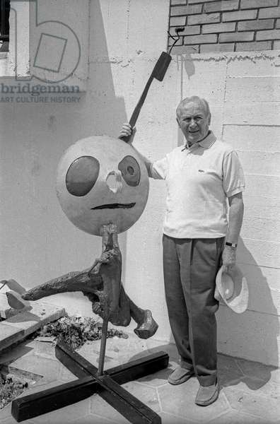 Joan Miro with one of his sculptures at the Maeght Foundation in Saint Paul de Vence where an exhibition of his work was organised for his 75th birthday, July 24, 1968