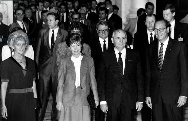General Secretary of Soviet Communist Party Mikhail Gorbatchev With Wife Raissa during Official Visit in France here in Paris City Hall With Mayor Jacques Chirac (R) and his Wife Bernadette (L) October 3, 1985 (b/w photo)