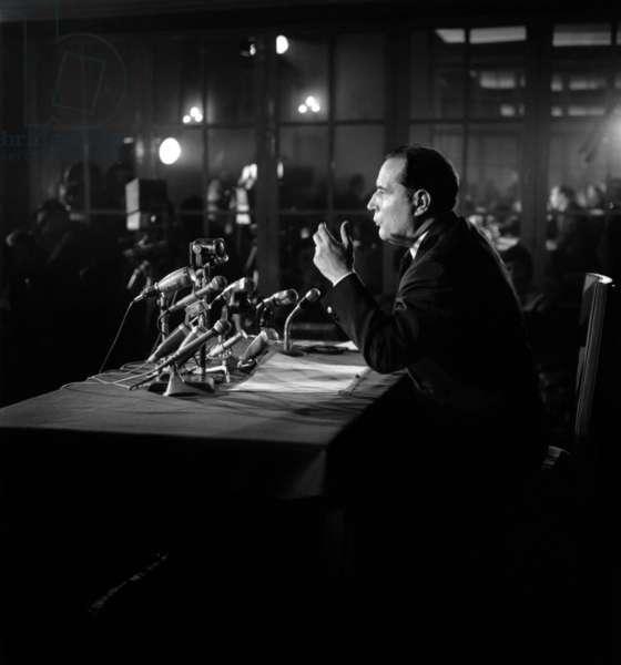 Francois Mitterrand (1916-1996), September 21, 1965 (b/w photo)