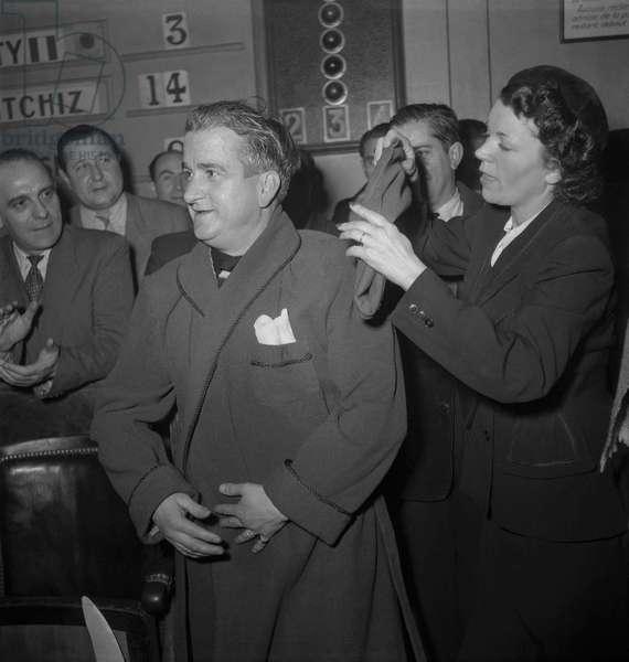 Antoine Boris, billiards player, Paris, December 17, 1949 (b/w photo)