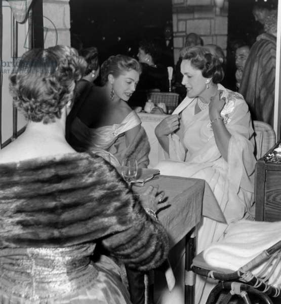 Cannes Film Festival : Esther Williams and La Begum in A Cafe Near The Palais, May 5, 1955 (b/w photo)