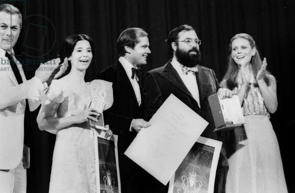 Tony Curtis and Marthe Keller Gave The Prizes : Marie-Jose Nat Best Actress Prize Jack Nicholson Best Actor Prize Francis Ford Coppola Golden Palm For his Film The Conversation at Cannes Film Festival May 27, 1974 (b/w photo)