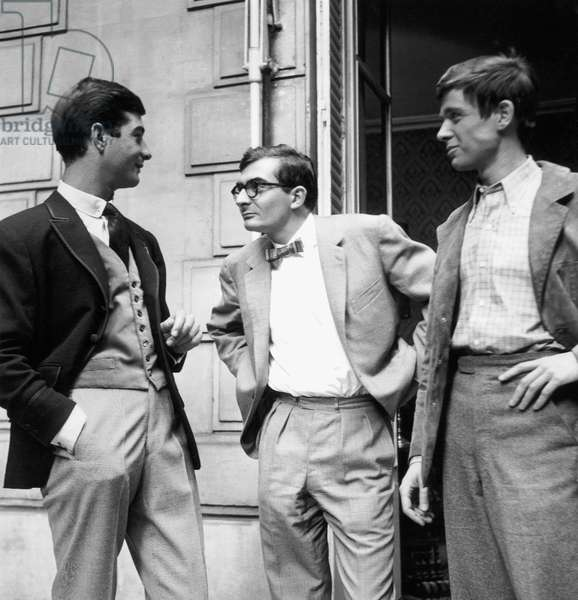 Director Claude Chabrol (Center) With Actors Jean-Claude Brialy and Charles Belmont on Set of Film Wise Guys August 10, 1960 (b/w photo)