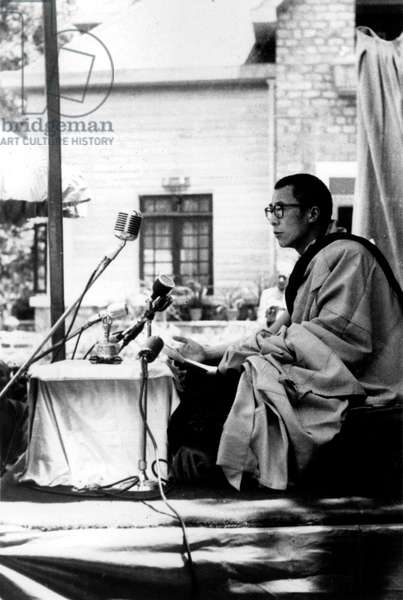 Dalai Lama (Tenzin Gyatso) during Poornima Celebration on May 28, 1959 (b/w photo)