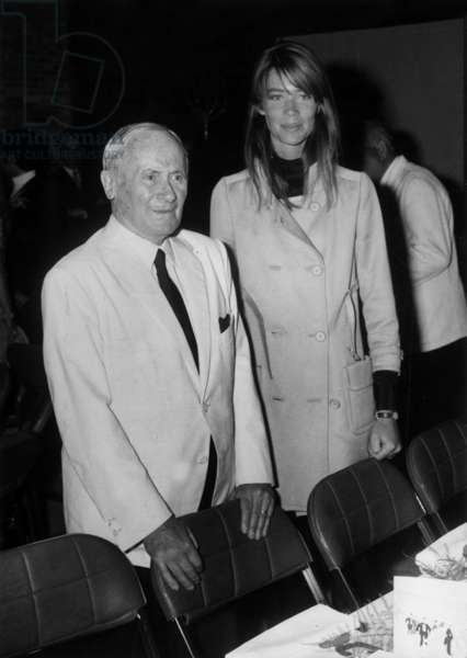 The Painter Joan Miro and the Singer Francoise Hardy For The 75Th Birthaday of Miro at Saint-Paul-De-Vence, July 1968 (b/w photo)