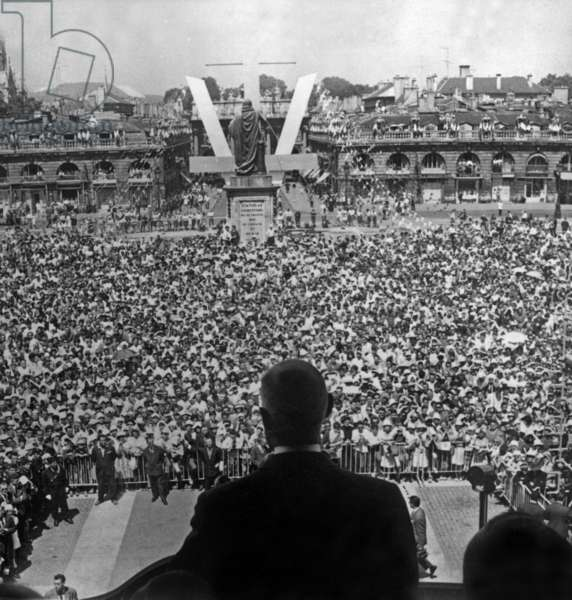 French President Charles De Gaulle during A Speech in Nancy, France, July 2, 1961 (b/w photo)