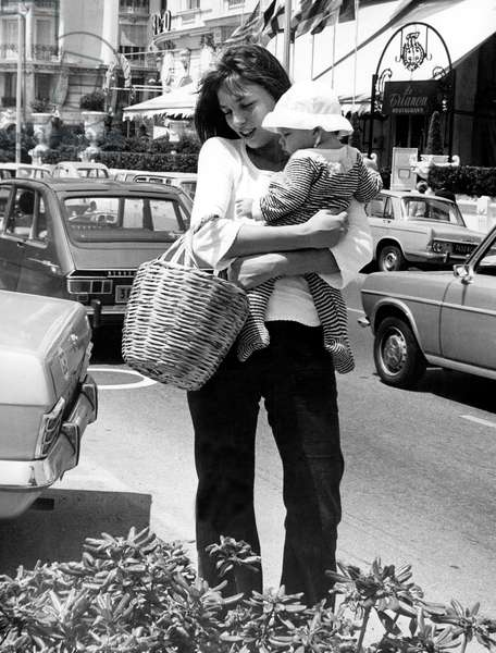 Jane Birkin with baby Charlotte, Nice, June 1972 (b/w photo)