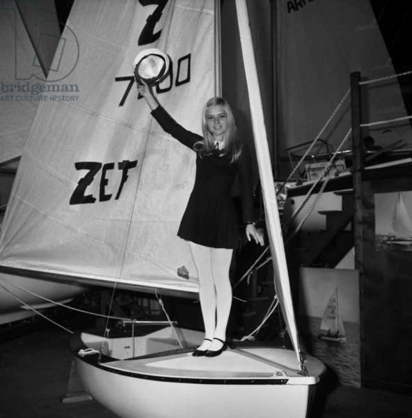 French Singer France Gall at Sailing Show, Paris, January 17, 1968 (b/w photo)