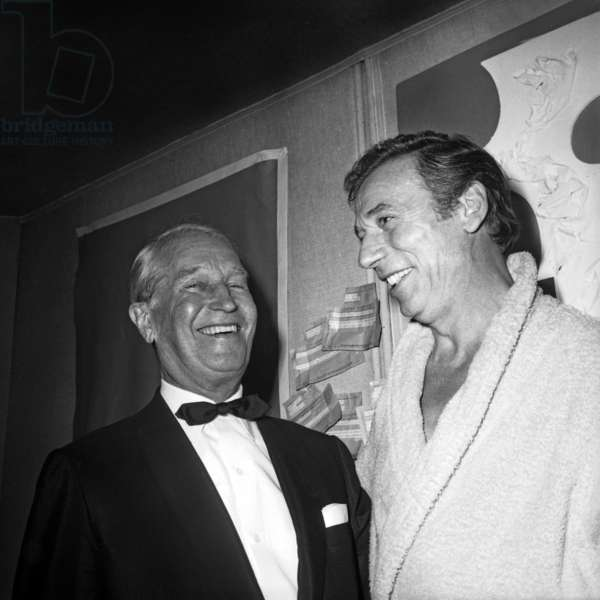 Maurice Chevalier and Yves Montand After his Show at Olympia September 20, 1968 (b/w photo)