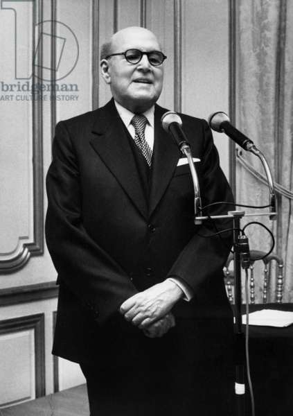 Marcel Dassault , After his Decoration (Guggenheimmedal) Pronoucing A Speech at The Champs Elysees in Paris, September 21, 1977 (b/w photo)