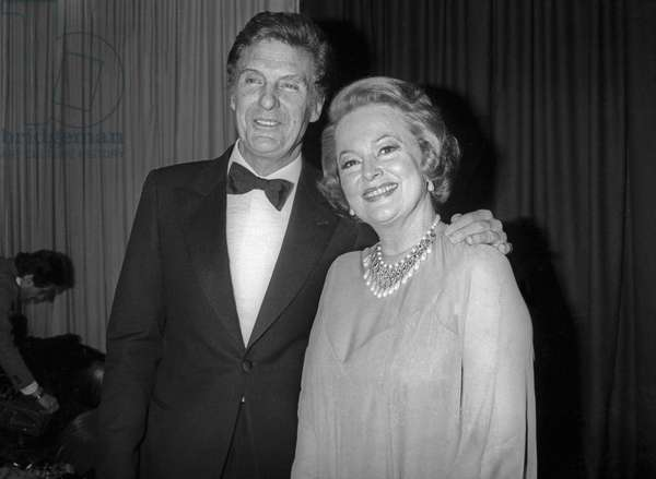 British-American actress Olivia de Havilland and American actor Robert Stack at the 3rd Cesar Awards ceremony at the Salle Pleyel in Paris, on February 4, 1978