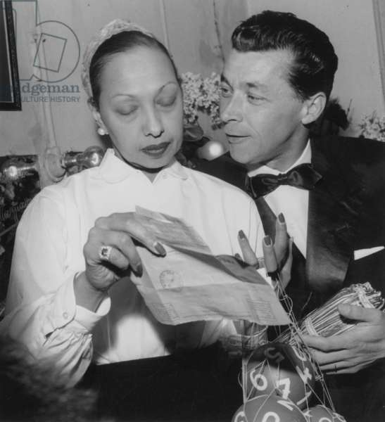 Josephine Baker Saying Goodbye at The Olympia (Paris) on April 11, 1956 With her Second Husband (b/w photo)