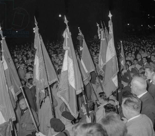 Demonstration of veterans against the Manifesto of the 121 in Paris, October 4, 1960 (Algerian war) (b/w photo)