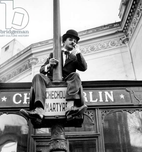 Fernand Raynaud, Dressed As Charlie Chaplin, during Rehearsal For New Show in Paris March 14, 1957 (b/w photo)