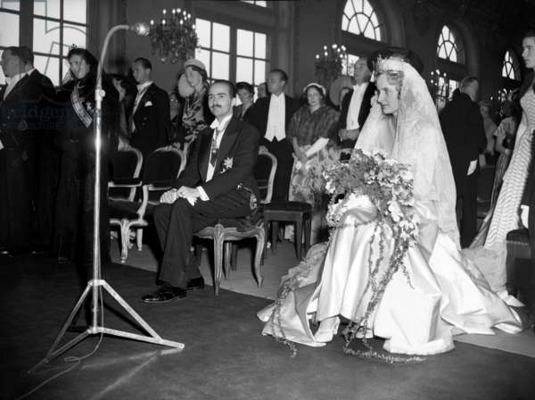 Wedding of Otto of Habsburg (Son of Emperor Charles1Stofhabsburg and Empresszita) With Regina of Saxe-Meiningen in Nancy (France) on May 10, 1951 (b/w photo)