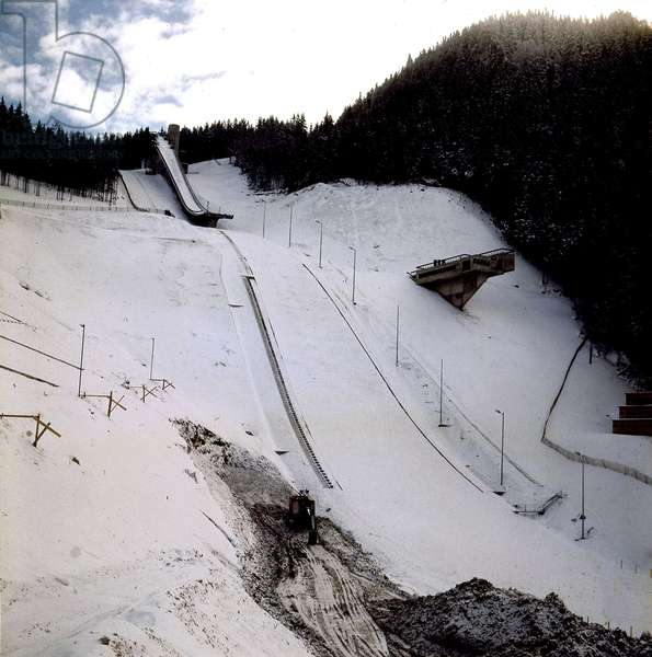 Ski Pist in Grenoble (France) during Winter Olympic Games in February 1968 (photo)