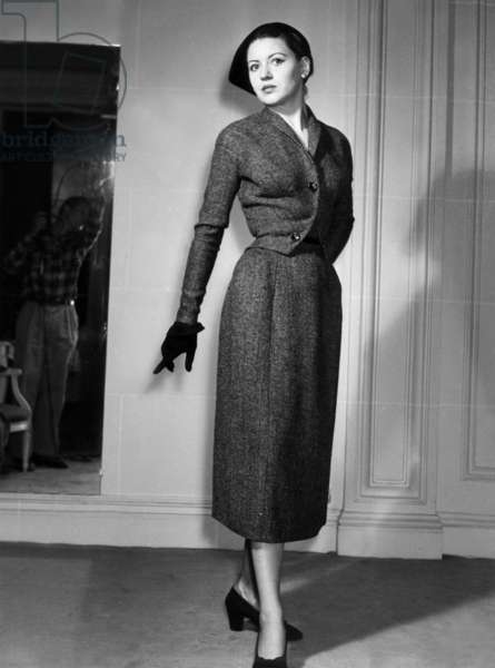 Christian Dior Fashion, 1951 (b/w photo)