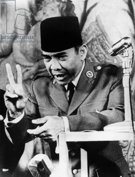 Achmed Sukarno (1901-1970), Indonesian President in 1945-1967, here on June 13, 1956 (b/w photo)