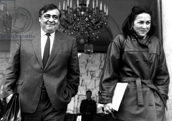 Philippe Seguin, French Minister of Social Affairs, and Michele Barzach, Minister of Health, After Council of Ministers at Elysee Palace, Paris, January 7, 1987 (b/w photo)