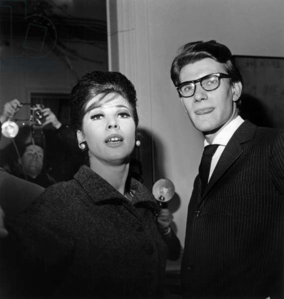 Fashion Designer Yves Saint Laurent With Model Victoire (Victoire Doutreleau) February 4, 1963  (b/w photo)