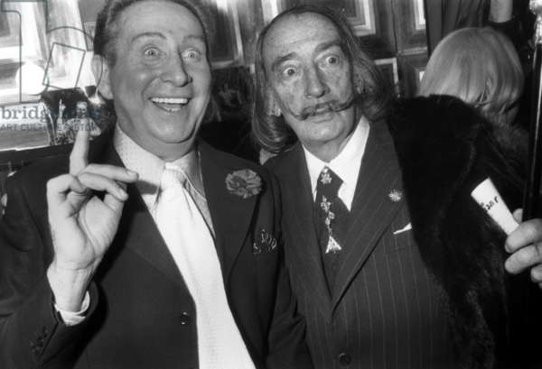 Charles Trenet at The Olympia Congratulated By Salvador Dali on April 11, 1975 (b/w photo)