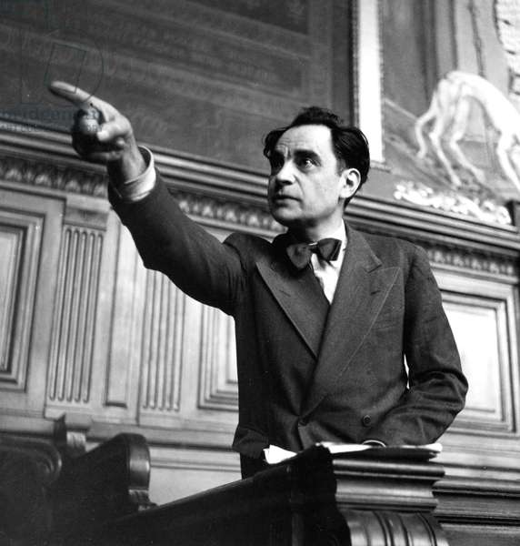 Trial of French Serial Killer Marcel Petiot (1908-1946) in March 1946 (b/w photo)