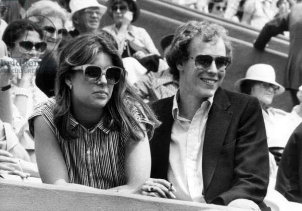 Princess Caroline of Monaco and her Brother Prince Albert of Monaco (Future Albert Ii) at Roland Garros June 9, 1978 (b/w photo)