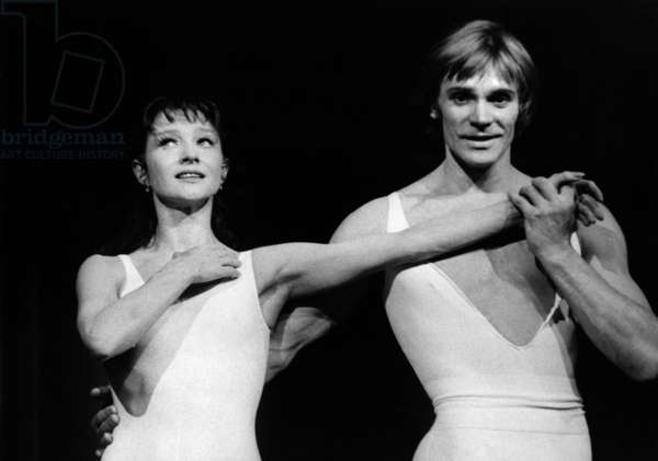 """Russian Dancers Vladimir Vassiliev and Ekaterina Maximova (Husband and Wife) in Ballet """"Romeo and Juliet"""" By Maurice Bejart, Paris, May 11, 1979 (b/w photo)"""