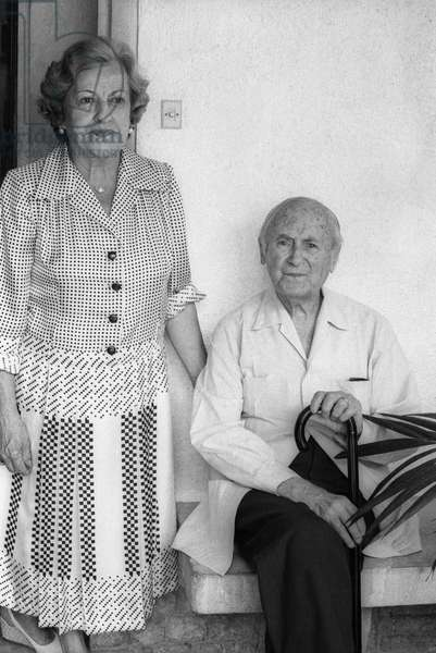 Joan Miro and his wife Pilar Juncosa in Palma de Mallorca where a retrospective of his work was organised for his 85th birthday, here at home, September 11, 1978