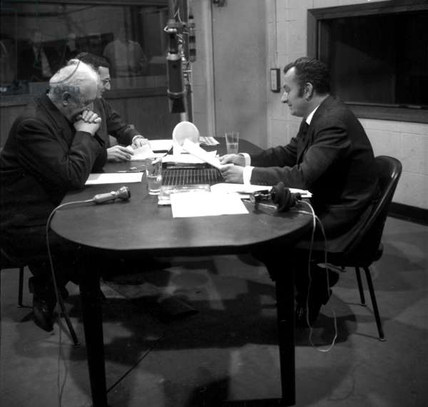 Francois Marty, Archbishop of Paris, With Journalists at Rtl Radio October 19, 1968 (b/w photo)
