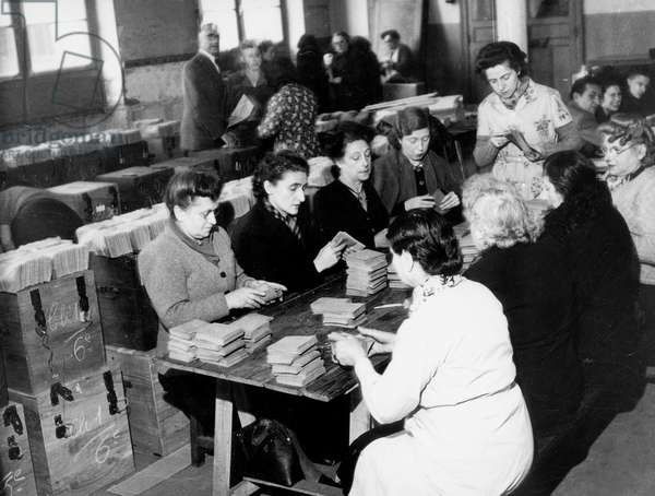 Preparations For Local Elections in April 1945, France : Women Preparing Envelopes. It'S 1St Time in France That Women Can Vote (b/w photo)