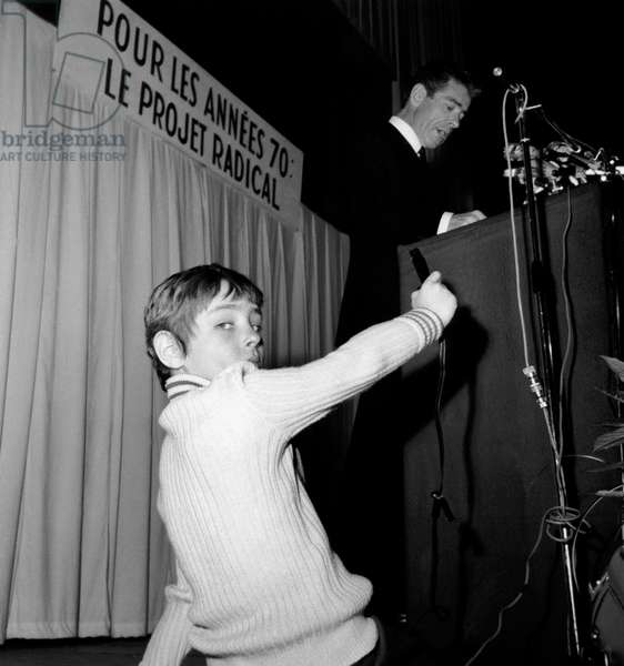 Jean-Jacques Servan-Schreiber General Secretary of Radical Socialist Party Taped By his Son David at Socialist Congress in Paris February 14, 1970  (b/w photo)